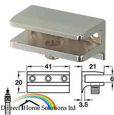 10 X GLASS SHELF CLAMP SUPPORT BRACKETS POLISHED CHROME 6MM