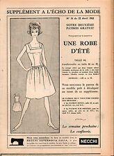 ▬► Patron Couture Supplément Écho de la Mode Robe d'Eté Taille 44 N°16 1962