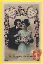 Carte Postale Ancienne LANGAGE du COEUR HEART COUPLE of LOVERS FRENCH in 1900
