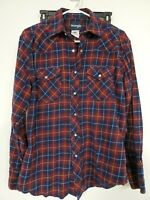 Womens LG Wrangler Pearl Snap Button Up Shirt Western Long Sleeve Plaid red/blue