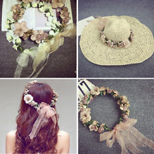 Women Wedding Party Flower Hair Garland Crown Headband Floral Hairband Decor AU