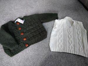 Baby Knitted Cardigan Jumper Tank Top Wool Alpaca aran Etc 12-18 Months
