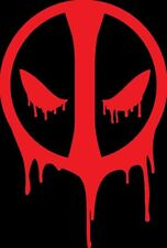 "Large RED Deadpool decal car window sticker 5""w x 7""h comic"