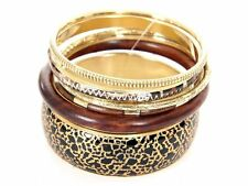 Women's Fashion Brown & Gold Tones Bangles Bracelet Set Brown/Gold