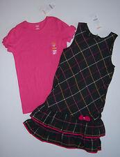 NWT Gymboree Panda Academy Sz 12 Plaid Jumper Dress & Pink Bow Tee