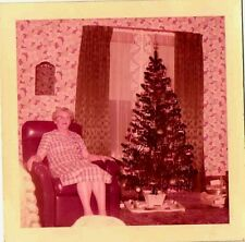 Old Vintage Photograph Woman in Recliner Retro Living Room Christmas Tree