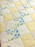 Handmade Baby Quilt Yellow Patchwork  Floral Crib Blanket Lap New