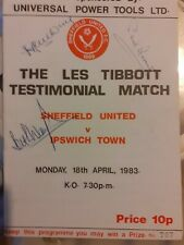 More details for sheffield united les tibbott testimonial programme signed  by 3 players