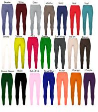 Girls Kids Plain Cotton Thick Long Length Leggings Age 2-13 Dance Brown Black