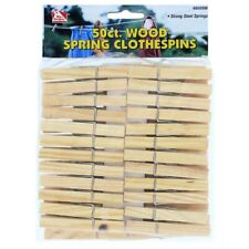 Wooden Clothespins Strong Steel Springs Laundry Clothesline Hanging, 50 Pieces