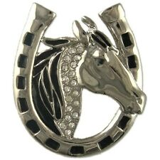 CRYSTAL RHODIUM PLATED HORSE SHOE BROOCH PENDANT MADE WITH SWAROVSKI ELEMENTS