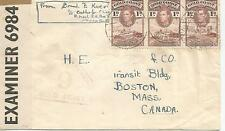 GOLD COAST KING GEORGE VI STRIP OF THREE 1d BROWN ON CENSOR COVER TO CANADA 1418