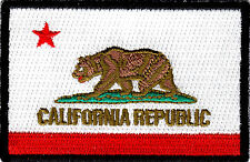 CALIFORNIA STATE FLAG BLACK BORDER Iron On Embroidered Patch California Republic