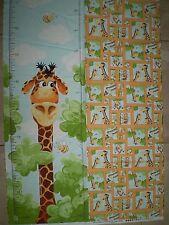 World of SusyBee - Giraffe Height Chart Panel.  100% cotton.