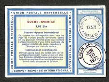 IRC INTERNATIONAL REPLY COUPON SWEDEN 1.05 SKR 1972 TO GREEN BAY WISCONSIN