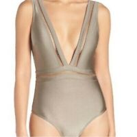 TED BAKER Woman's Swimwear Starza Pointelle Deep V Onepiece Swimsuit NWT Size 10