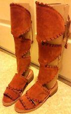 Bettye Muller Badawi Suede Knee High Laceup Gladiator Sandals Womens 6 Coachella
