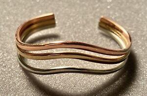 SERGIO LUB  Triple Spring Wave  Silver Copper Brass Cuff Bracelet Tri-Tone