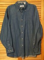 MEN'S DENIM SHIRT 2XL BLUE CINTAS LONG SLEEVES BUTTON FRONT COTTON
