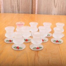 10 Vintage Frosted Glass Footed Candle Holder With Holly