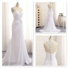 UK White/Ivory Chiffon  Wedding Dress Bridal  Size 6-20 Real Image