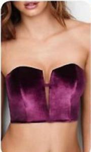 Victorias Secret Corset Small Purple Velvet Dream Angels Boned NWT $45 N7