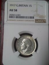 1917 George V Shilling Great Britain NGC AU58