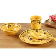4pcs Dinnerware Set Dinner Plates Bowls Cup Kitchen Dishes Service Yellow #1