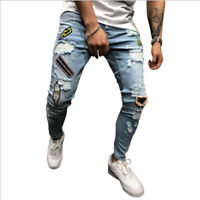 Men's Ripped Biker Jeans Skinny Destroyed Frayed Slim Fit Denim Pants Trousers