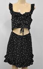 Nasty Gal Cut out Ruffle Mini Dress Black Size US 10 UK 14 Black White heart NWT