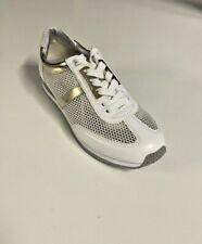 Michael Kors Maggie Trainer White/Gold Mesh Fashion Sneaker Size 6, 9.5 New $160