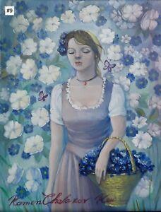 Kamen Chalakov Flower Girl Blue White Flowers Acrylic Painting on Board 11x14