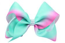 """New 5"""" Jojo Style Cyan Rainbow Hair Bows Girls Diamante Hair Clip Accessories"""