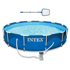 "Intex 12' x 30"" Metal Frame Above Ground Swimming Pool, Filter, & Skimmer"