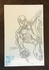 RON LIM original BLACK SUIT SPIDER-MAN Hero Initiative drawing on custom board