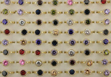 Wholesale Mixed Lots 50pcs Wedding Ring Round Cubic Zirconia Gold P Copper Rings