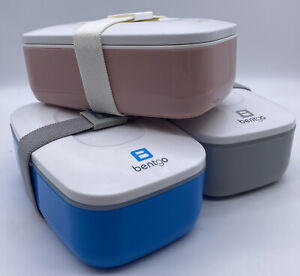 3 BENTGO Box- All-in-One Stackable Bento Lunch Box Container - Blue Blush & Gray