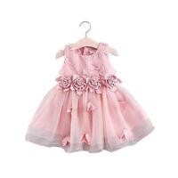 Kids Baby Girl 3D Rose Flower Bridesmaid Party Dress Princess Bow TuTu Dressup