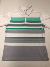 Adidas ClimaCool Golf Polo Shirt White Gray Green Stripe Men's Large