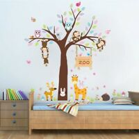 Zoo Owls Monkey Trees DIY Wall Stickers Nursery Kids Room Removable Mural Decal