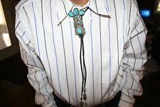Unique Bennett Turquoise Ornate Kachina Figure Bolo signed by Helen Long H.L.