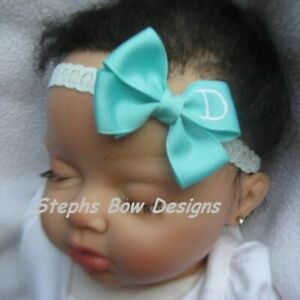 Aqua Monogram Dainty Hair Bow Headband Personalized 4 Preemie 2 Toddler Easter