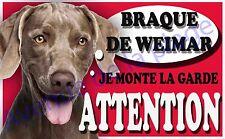 Plaque aluminium Attention au chien - Je monte la garde - Braque de Weimar, NEUF