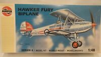 Vintage 1989 Airfix 1:48 Hawker Fury 1 Biplane Fighter Aircraft  1939 Model Kit