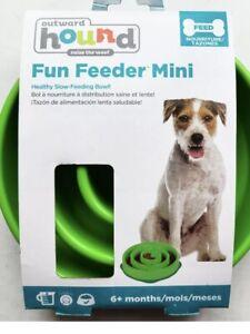 Fun Feeder Mini -Slow Feeder Dog Bowl By Outward Hound Mini 6+ Months Green
