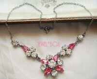 EARLIER VINTAGE PINK TEAR DROP CRYSTAL DIAMOND RHINESTONE FLOWER NECKLACE