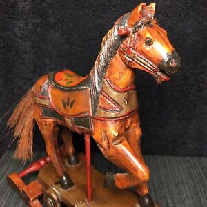 """Antique Hand-Carved Wooden Rocking Horse Toy Wheels Painted Vintage Pony 13"""""""