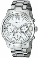 GUESS Womens U0330L3 Sporty Silver-Tone Stainless Steel Watch with Multi-fun...