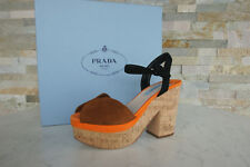 PRADA Plateau Gr 40 Sandaletten Kork Heels 1XZ519 Schuhe Shoes neu ehem UVP 650€
