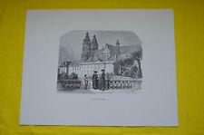 """Gravure par A. Gusmand """"Le palais des archevêques"""" Dimensions 65.5 cm x 50 cm"""